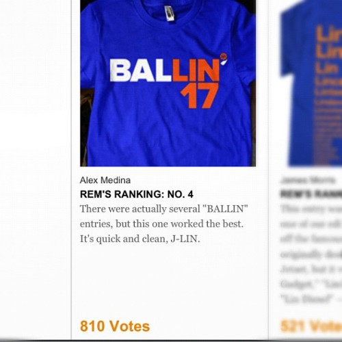 My Jeremy Lin Shirt made it to the top 10 and is currently sitting in 3rd place! Please vote an spread the word! http://nyti.ms/MedinaBallin #linsanity