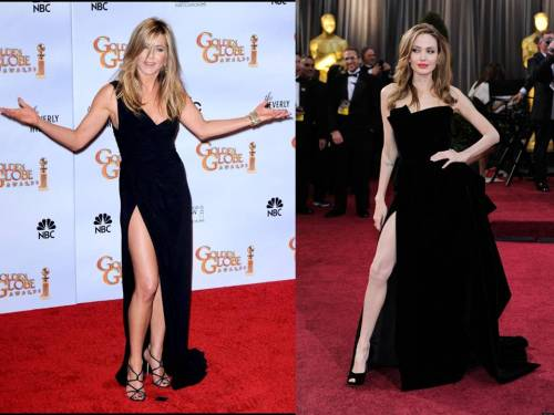 Been there, done that! The battle of the LEGS…Jennifer or Angelina? #TeamAniston looks much better & healthier.