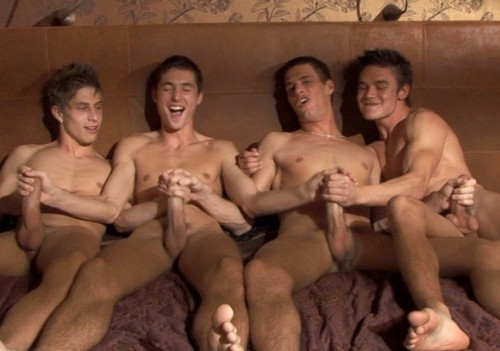 4 horny naked frat boys, jacking their cocks together.