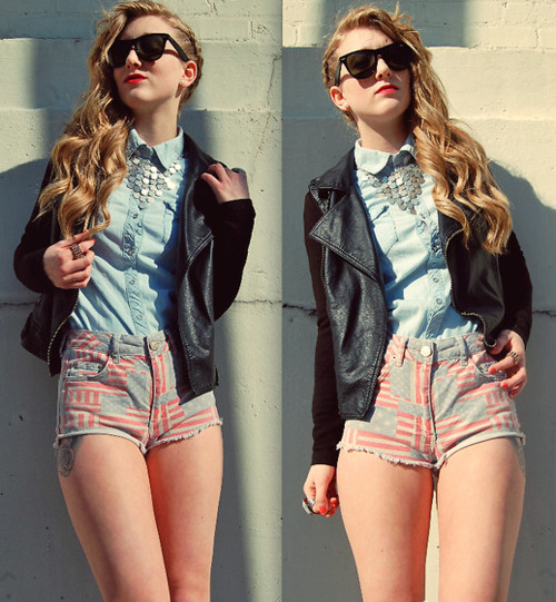 cherieboudoir:  Faded Flag Hotpants (by Olivia Shutey)