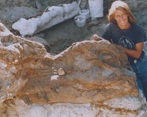 Susan Hendrickson with Sue's skull  What a photo! I dream to one day be so lucky and make an incredible discovery such at Tyrannosaurus Sue. This photo truly gets my blood pumping to go out there and get searching!