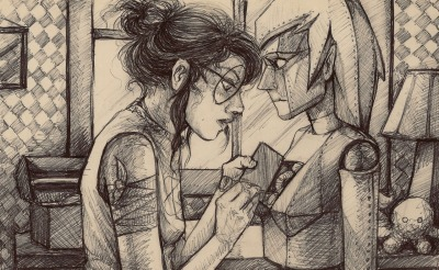 witheringwriter:  norhuu:  Ball point doodle of Jade fixing JadeBot.   Ball point doodle