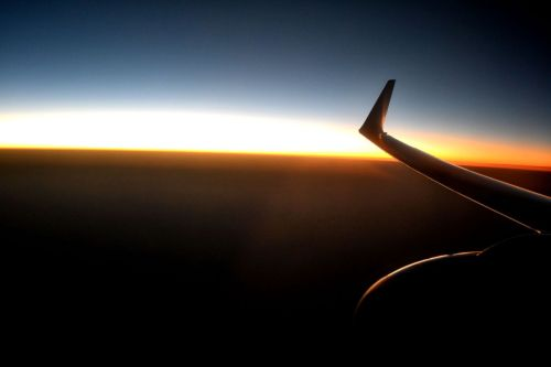 Sunset off a plane.