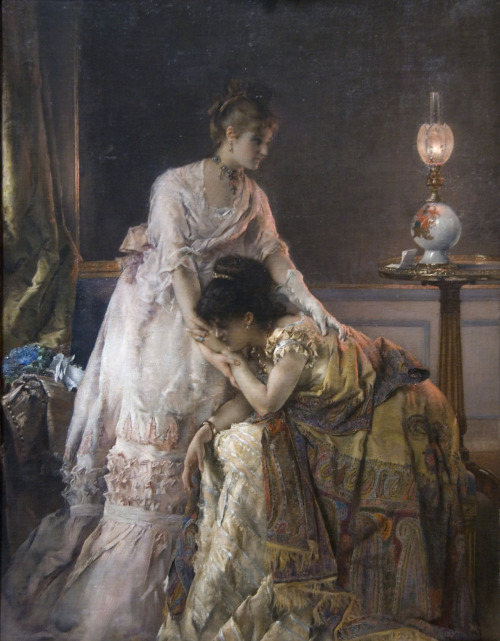 "suicideblonde:  After the Ball (1874) by Alfred StevensOil on canvas 37 3/4 x 27 1/8 in.   This painting, also known as ""Confidence,"" is one of several by Stevens to treat the theme of consolation. As in his other works from the 1870s, here the anecdotal content of a letter containing distressing news asserts itself in a glimpse of the life of fashionable Parisian women in their elegant interiors. Stevens's subject matter and his meticulous attention to contemporary dress and decor elicited analogies to seventeenth-century Dutch and Flemish art; in fact, one critic called him the Gerard ter Borch of France."