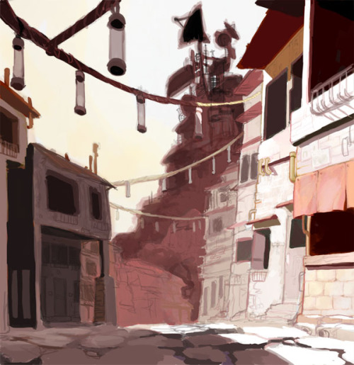 quickly colored version of the original exterior sketch for storyboarding class.