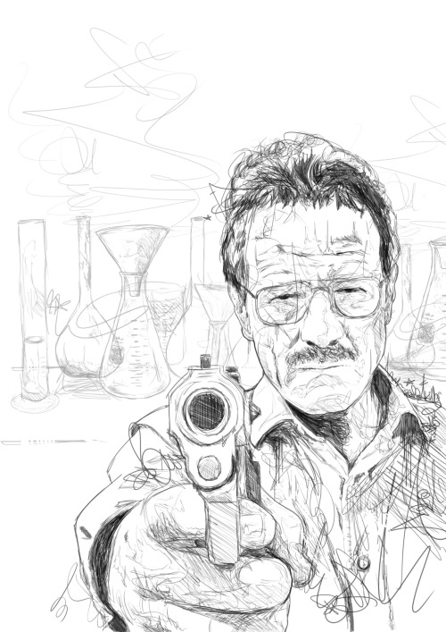 eatsleepdraw:  Breaking Bad sketch by Mister Giles Hope you like it, can see the various unfinished versions here: http://www.flickr.com/photos/pfg84/ Thank you for your consideration :)