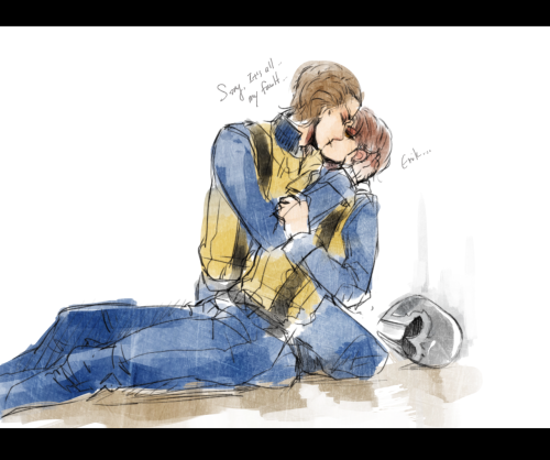 "Requested by yourareunearthlything  "" the beach scene, when Erik is holding Charles, only this time Erik will be kissing him…. :)"" Sorry it's like a quick sketch >_< Hope you like it!!!……"