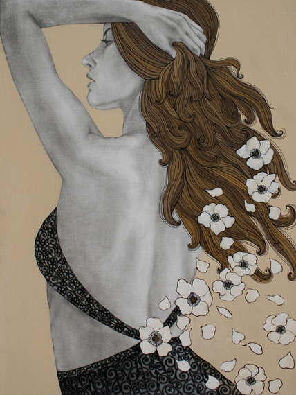 MESSAGE OF FLOWERSacrylic on canvas, sepia pencil, acrylic marker • 2007Today is The First Day of Spring !