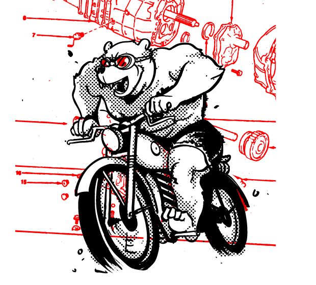 Killed artwork for a secret t-shirt line. This bear guy is clearly too bad ass for cotton.