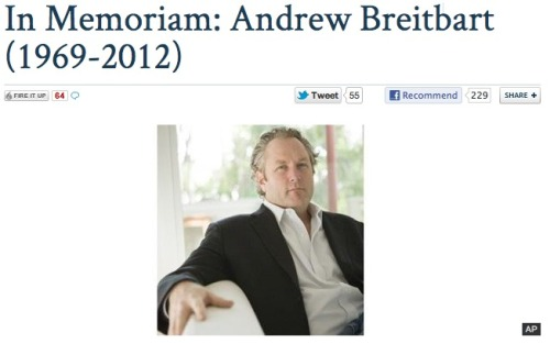 RIP Andrew Breitbart: He died unexpectedly last night. Which is crazy. He wasn't that old. Say what you will about the guy, but he was one of the architects of two of the Web's most widely-read sites — The Drudge Report and HuffPo. So he left a huge mark.