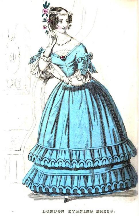 Ladies Pocket Magazine, London Evening Dress, 1838. OK, it is sorta hard to admit this, but I am totally loving THIS 1830s dress.  Don't rub it in.