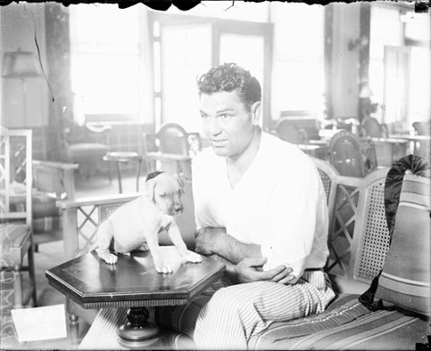 Jack Dempsey and Puppy, Chicago, Illinois, 1927, (SDN-067016, Chicago Daily News negatives collection, Chicago History Museum).