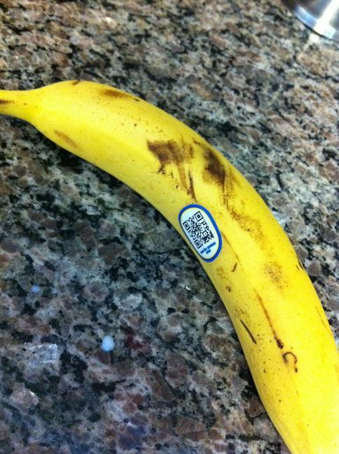 Is that a QR code on your banana or are you just happy to see me? I seriously doubt this banana has anything interesting to say.
