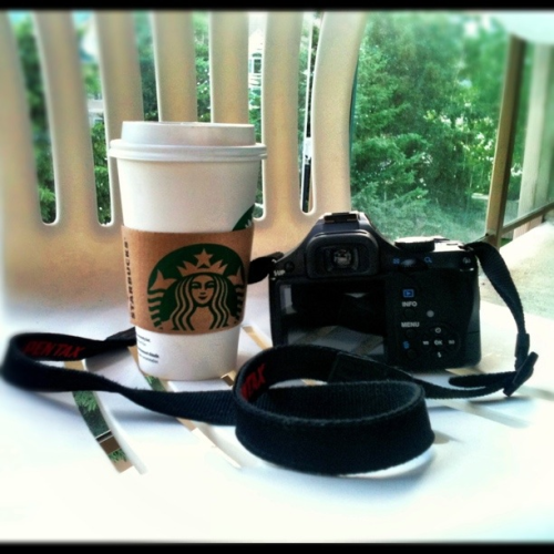 Wish I was here:  Camera.  Coffee.  Mountains.  No office or paperwork in sight.  Heavenly.