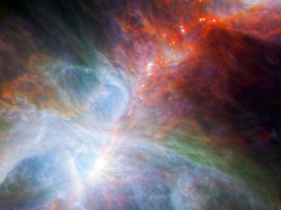 discoverynews:  Baby Stars Spied Throbbing Inside Orion Looking like a blinding battle between opposing cosmic forces, this dazzling image shows a region of the Orion nebula as seen by NASA's Spitzer and the European Space Agency's Herschel space telescopes. The colors represent different wavelengths of infrared light emitted by infant stars as they heat up and cool down over the course of their energetic development. keep reading Image credit: NASA/ESA/JPL-Caltech/IRAM