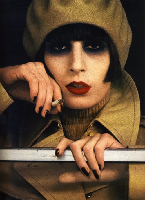 djlydiax:  Anjelica Huston from her modeling days. Marie Claire magazine 1973.