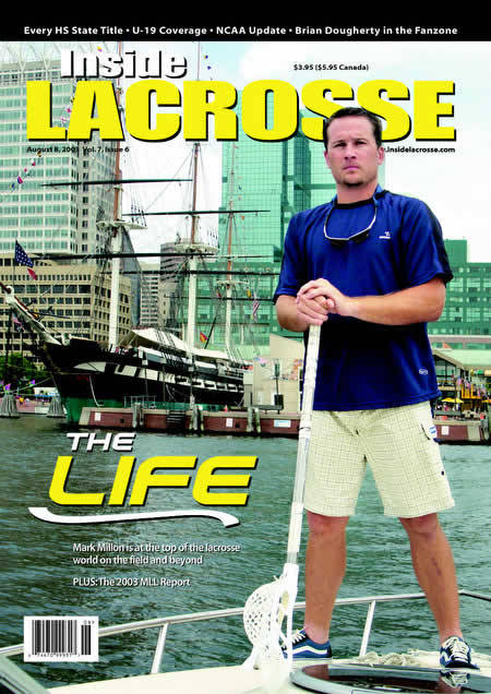 Mark Millon on the cover of Inside Lacrosse talks about his affinity for hockey tape. (Volume 7 - Issue 6 - August 2003)