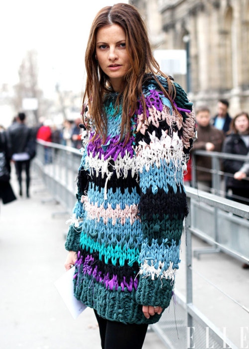 elle:  Street Chic: Paris An Isabel Marant sweater in it's native environment Photo: Courtney D'Alesio