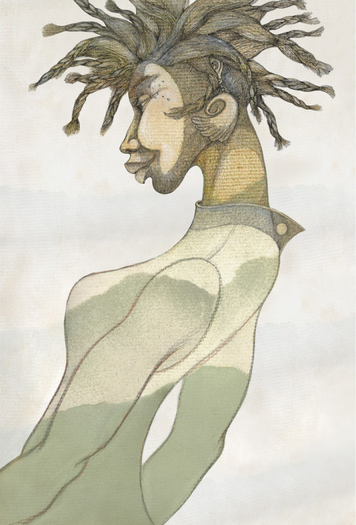 woman with green hair by Charles Bibbs