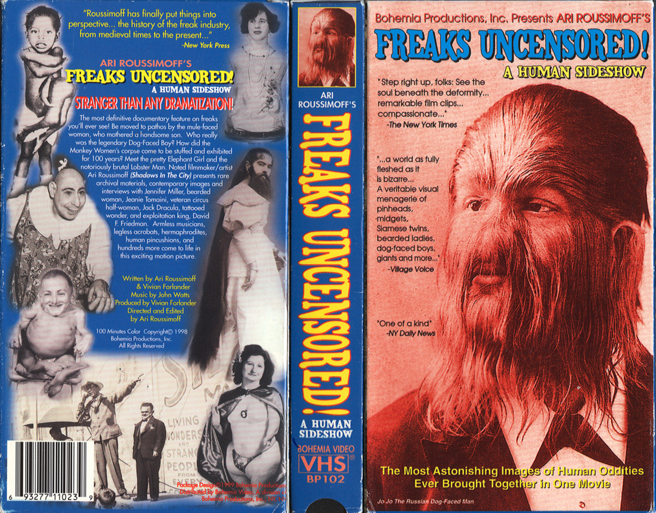Scan from the Kermit Davenport VHS library: Freaks Uncensored: A Human Sideshow (1998).