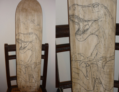 The final sketch for my Tyrannosaurus Deck piece for the upcoming skateboard art benefit show On Deck Skateboard Art Show. I'll share the final oil painted piece after the show.