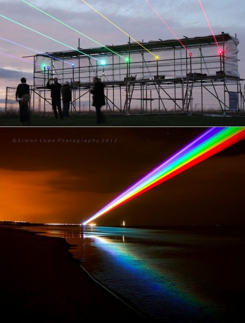 "thedailywhat:  Artificial Rainbow of the Day: Seven colorful beams of light make up Yvette Mattern's ""Global Rainbow"" installation, unveiled last night at St Mary's Headland in North Tyneside. Celebrating the London 2012 Cultural Olympiad, the ongoing installation is ""intended to symbolize hope,"" and stretches out some 8km from its point of origin. [colossal.]     looks like power rangers to me"