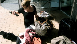 unpacking all my stuff at the harbour to search for different shoes to wear haha