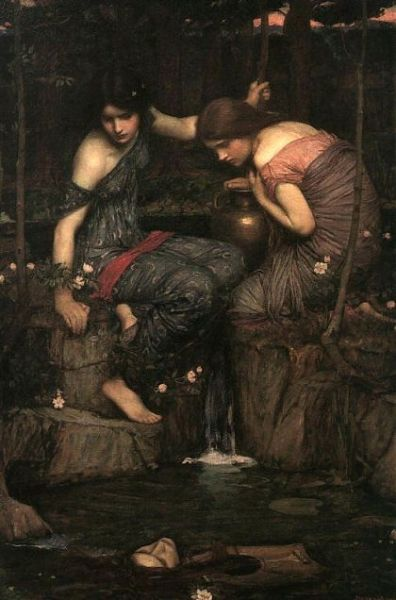 John William Waterhouse Nymphs Finding the Head of Orpheus 1900 Traditionally, Orpheus was the son of a Muse (probably Calliope, the patron of epic poetry) and Oeagrus, a king of Thrace (other versions give Apollo). According to some legends, Apollo gave Orpheus his first lyre. Orpheus' singing and playing were so beautiful that animals and even trees and rocks moved about him in dance. Orpheus joined the expedition of the Argonauts, saving them from the music of the Sirens by playing his own, more powerful music. On his return, he married Eurydice, who was soon killed by a snakebite. Overcome with grief, Orpheus ventured himself to the land of the dead to attempt to bring Eurydice back to life. With his singing and playing he charmed the ferryman Charon and the dog Cerberus, guardians of the River Styx. His music and grief so moved Hades, king of the underworld, that Orpheus was allowed to take Eurydice with him back to the world of life and light. Hades set one condition, however: upon leaving the land of death, both Orpheus and Eurydice were forbidden to look back. The couple climbed up toward the opening into the land of the living, and Orpheus, seeing the Sun again, turned back to share his delight with Eurydice. In that moment, she disappeared. Orpheus himself was later killed by the women of Thrace. The motive and manner of his death vary in different accounts, but the earliest known, that of Aeschylus, says that they were Maenads urged by Dionysus to tear him to pieces in a Bacchic orgy because he preferred the worship of the rival god Apollo. His head, still singing, with his lyre, floated to Lesbos, where an oracle of Orpheus was established. The head prophesied until the oracle became more famous than that of Apollo at Delphi, at which time Apollo himself bade the Orphic oracle stop. The dismembered limbs of Orpheus were gathered up and buried by the Muses. His lyre they had placed in the heavens as a constellation.