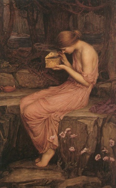 "John William Waterhouse Psyche Opening the Golden Box 1903  Psyche represents the human spirit or soul, and in mythology she was represented as a princess so beautiful that people adored her instead of Venus. To put an end to this sacrilege, Venus sent her son Cupid to make Psyche fall in love with the ugliest creature he could find. but when Cupid saw her he fell in love and forgot his mother's command. They became lovers, though Cupid forbade Psyche ever to look upon him. When at last she did, he fled in fear of what Venus would do to him in revenge. Psyche roamed the earth in search of her lover, facing obstacles thrown in her way by Venus to prove that she was worthy of her son. One of these tasks involved a golden box which she was forbidden from opening. When she did open it, she fell into a deep sleep of death. Eventually, however, Jupiter agreed that the lovers could be united for eternity. The couple's daughter was named Voluptas (""pleasure""). In Greek mythology, Venus is represented by Aphrodite , Cupid by Eros and Jupiter by Zeus."