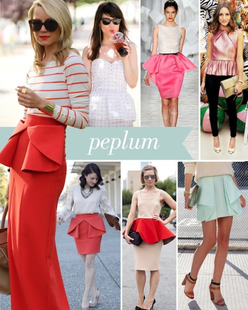 Peplum is a short addition sewn onto a bodice of a dress or jacket. The peplum is pleated or gathered onto the hem of the bodice. Also  known as a basque (definition from dictionary of fashion and fashion designers) The peplum  has been seen more  and more on dresses  recently and picked up on the red carpet ( Michelle Williams'  Vuitton Oscar dress could be described as a peplum cut ).  One of the designers who seems quite fond of this cut is Jason Wu. But why is this trend so popular ?  The retro style  trend could be a cause of this. Mad Men is celebrated for their costumes and vintage style looks are visible in more and more shops. Banana Republic is having a second Mad Men collection made by costume designer Janie Bryant. By bringing  vintage looking clothes back into fashion, maybe a modern twist is wanted, thus the peplum. My favourite out of these basques is the robin egg one on the right. The skirt is discreet  but with a special embellishment  and the outfit altogether  matches perfectly!  theglitterguide:  (via Style File: Peplum | theglitterguide.com)