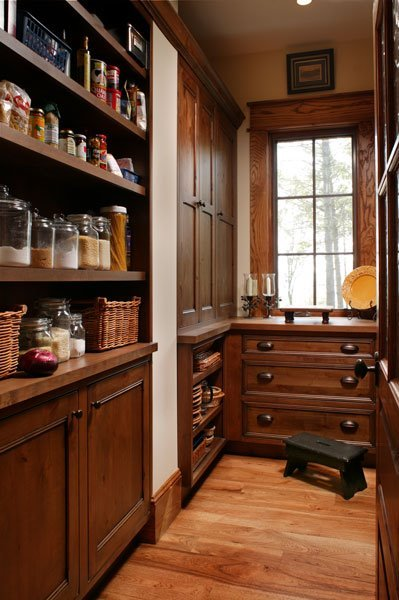 creativespacesnashville:  Pantry envy! I love the wood cup pulls. So antique-y. So white-glove butler-y.