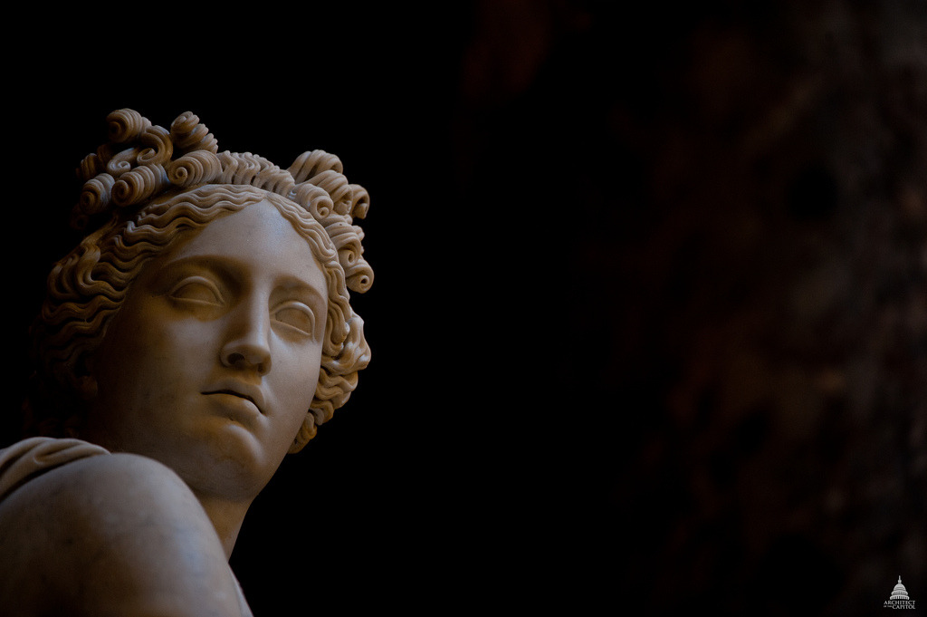 Image description: This marble statue of Clio, the Muse of History, is displayed in the Capitol's National Statuary Hall. It was created by Carlo Franzoni in 1819. Photo from the Architect of the Capitol