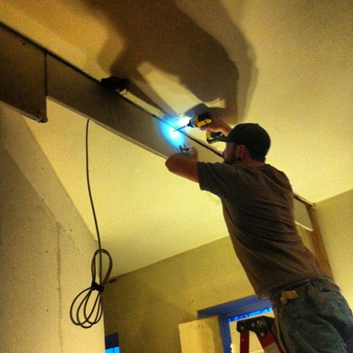 garynievesjr:  Master builder Matt Zambito installing a soffit at Cobra Sun studio to dress up some exposed joists