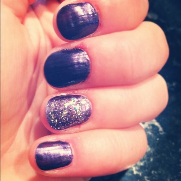 Deep purple with glitter nail.. Trying the 'trend' again.. Still thinking it's not for me (Taken with instagram)