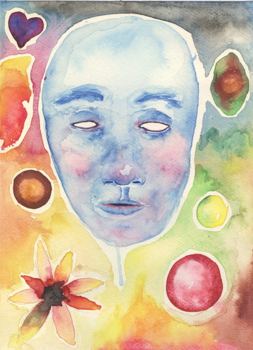 Watercolor test last night. We're got a watercolor assignment in art, and we're painting flowers… in general, I very strongly dislike realistic paintings of still life or even portraits. It's too much like trying to copy a photograph, which is exactly what we are doing in art. The problem is, I have never used watercolors for anything realistic, and as you can see by my test, I still don't like to. Anyway, I liked how this turned out for the first time watercoloring a face in earnest.