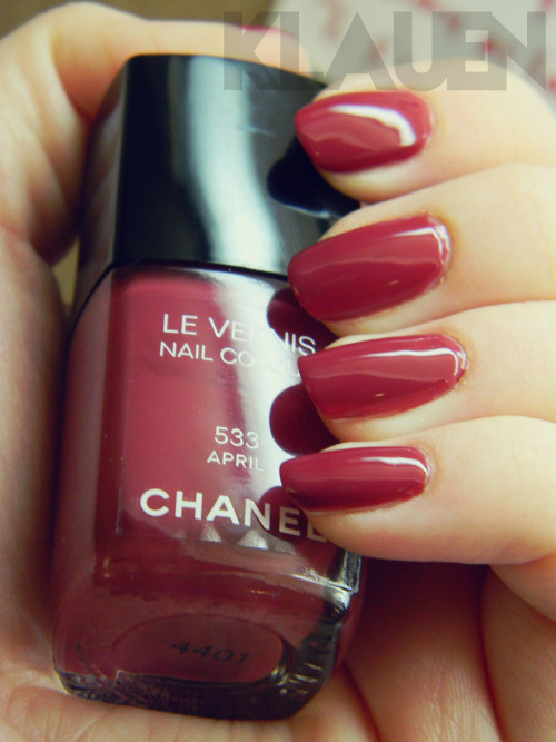 Chanel Le Vernis in April So absolutely gorgeous. This polish is absolutely worth the $30 price tag. Not only is the colour perfect, but the formula is immaculate. The perfect thickness, perfect application, etc. etc.! If you have fair, pink skin like me this cool-toned red is a must-have. Love it! Thanks to my friend Meaghan at tumblr.com/megsnails for lending me her Seche Vite. I was not about to skip out on a perfect finish, so quick-drying, super glossy top coat was necessary!