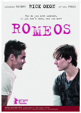 hii guys and girls XD 2 or 3 days ago I saw that film ROMEOS. it is nothing I thought it was going to be. Seriously it's awesome. I thought it was going to be just the romance about 2 boys, but it's more than that. I don't want to explain anything about it just find it for yourself, what I'm going to say is that it's about fight for how you are.  well i recomend it to everyone I love it :)
