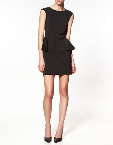 The Perfect (Peplum) Little Black Dress. It's at Zara and it's only $99. [WoW] I had to post this because I would've gotten it by now, if I hadn't already spent my fashion budget for the week. How? OH twist my arm… okay, I'll tell  you. Last week I took a giant bag full of professional clothes from 8…er, 10?…years ago - and paid a tailor approximately $150 to remake $1,000 worth of clothes, to make them wearable again. We turned a-line, knee-length skirts into fitted-at-the-waist mini-skirts with pleats; shortened ungainly dress hems to appropriate lengths and took blazers in about two sizes so they fit; and finally, we turned one dress into a tailored peplum blouse (with fabric left over for the cumberbund belt I plan to make out of it). She did a lovely job, by the way. All in all, it felt terribly successful. I'm relieved! I nearly had a heart attack spending so much money on clothes back then, being fresh out of college and with hardly a penny to my name. Still, I had to look presentable for the C-Suite, so I paid through the nose (and probably built my credit too). Once I began working from home in 2007, these fancy duds went into boxes and were nearly given away many times. Now I can say I'm glad I kept them: I love new dresses, but especially when they're old.  :]
