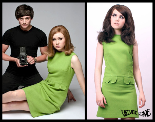 We were rather taken with the Jean Shrimpton inspired outfits taking centre stage in the BBC TV drama, We'll Take Manhattan.Did you see it? Well take note if you did because we've got a dress that fans of Doctor Who star Karen Gillan will be sure to take to! You'll do a double take when you see how similar it is to the pea green shift dress that Karen can be seen wearing in the publicity shots taken for the programme. If you'd like to take advantage of this marvellous opportunity, there are a VERY limited amount available to buy NOW on our eBay page! We've also taken the liberty of creating some colour and fabric variations on the theme so you may wish to take a chance and take two… or even three! Take a look right now! And don't take too long to take your choice… there's only a few dresses available and they're sure to be taken in next to no time! Take it easy with Velvet Cave!