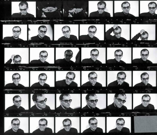 lettertojane:  Jean-Luc Godard contact sheet, 1960s, by Georges Pierre. (Via)