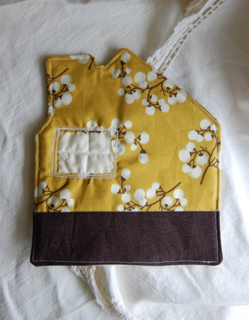 Quilted mug rug in brown and yellow now available in my shop.