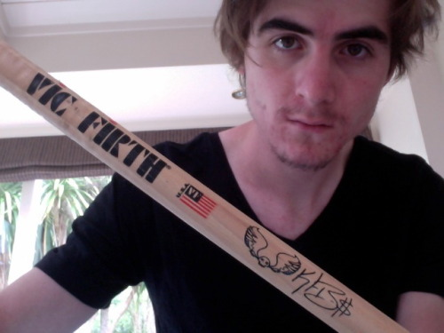 Kyle Burns' drumstick yo! It struck me about an inch from my eye when I wasn't looking.  What a catch!