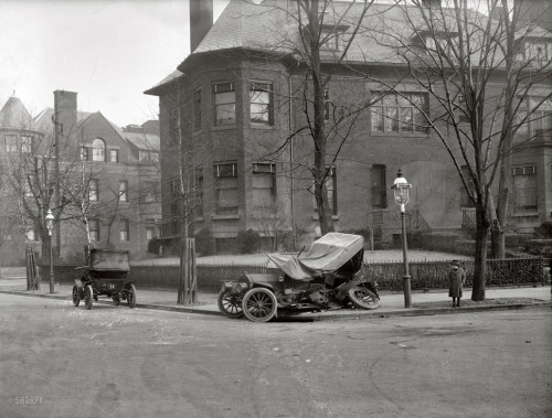"""Auto wreck, Mass. Ave., Washington circa 1917."" Massachusetts Avenue at 21st Street N.W."