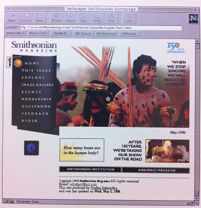 Curious what Smithsonian.com looked like in 1996? Our web editor was doing some early spring cleaning and came across this image of Smithsonian.com's homepage in May of 1996. What do you think? Ed note: Where are the animated gifs?