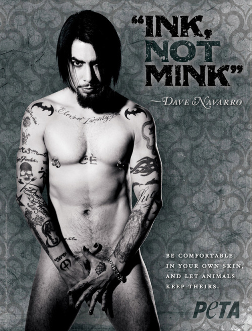 Click here for tattooed celebs who strip for animals