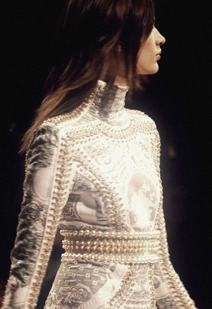 Pearls and lace.  moldavia:  Balmain F/W 2012