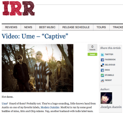 "Video Review for IndieRockReview.com: Video: Ume - ""Captive"""
