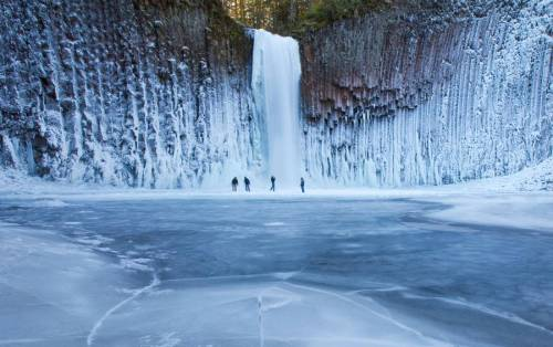 Photograph taken of a 92 foot waterfall at Abiqua Falls in Oregon.
