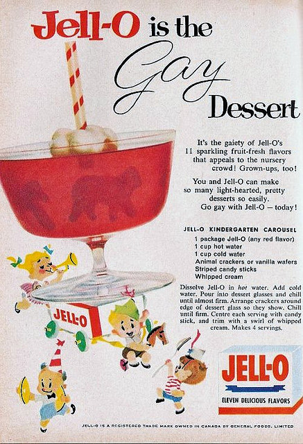 Go gay with Jello. Jell-O, 1958