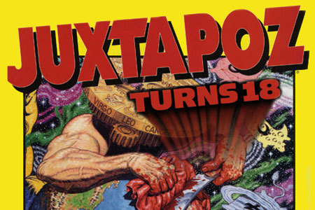 Juxtapoz magazine, a major champion of the whole Pop Surrealist/Lowbrow/etc art movement, is turning 18 with a birthday party at Copro Gallery later this month. Below is the material from Bergamot Station, where Copro is located, outlining the amazing  lineup of Juxtapoz artists whose work will be there, including Shepard Fairey, Luke Chueh, Robert Williams, Mark Ryden, Tara McPherson and SO many more. Very promising.    Copro Gallery presents a group art exhibition celebrating JUXTAPOZ magazine's 18 year anniversary. This art gallery show will feature artists from Juxtapoz's past , present and future. Since its inception in the early 90's Juxtapoz has been a major factor in setting art trends and helping to make them a world wide phenomenon with its vast publishing empire and International circulation.Artists curated by Gwynn Vitello and Greg Escalante: Robert Williams, Shepard Fairey, Mark Ryden, Todd Schorr, Marion Peck, Camille Garcia, Kathy Staico Schorr, Cathie Bleck, Suzanne Williams,The Date Farmers, Jeremy Fish,Tara McPherson, Shag, Dave Cooper Tiffany Bozic, Scott Musgrove, Neckface, Elizabeth Mcgrath, Souther Salazar, Luke Chueh, Ed Templeton, Dennis McNett, Isabel Samaras, Charles Wish, Jeremy Lipking, Steve Olson, Don Pendleton, Mike Shine, Retna, Kevin Ancell, Andrew Schoultz, Brian Bowen Smith, Skinner, Rico Deniro, Craig Stecyk, Herbert Baglione, Sandow Birk, Mike Giant, Morgan Slade, Ron Lipking, Sage Vaughn, Deanna Templeton, Bill Dee Williams, Estevan & Eriberto Oriol, Michael Carney &  more.